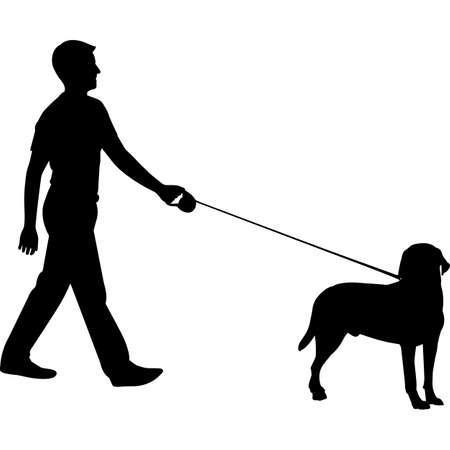Man Walking a Labrador Retriever  Dog Silhouette Vector