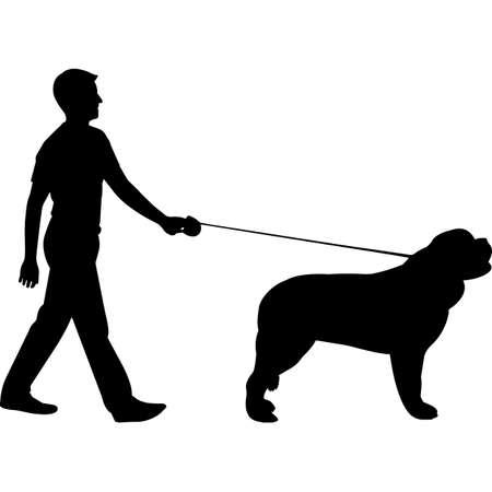 Man Walking a Saint Bernard Dog Silhouette Vector