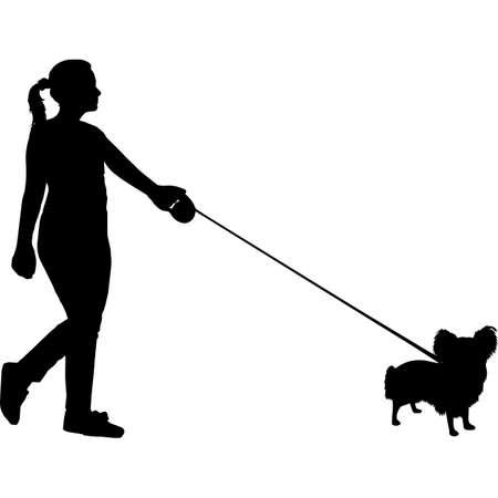 Woman Walking a Papillon  Dog Silhouette Vector