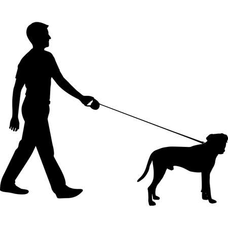 Man Walking a Boxer  Dog Silhouette Vector