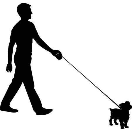 Man Walking a Yorkshire Terrier  Dog Silhouette Vector