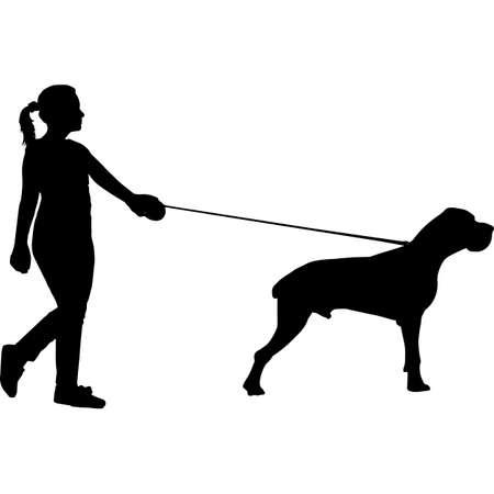 Woman Walking a Great Dane  Dog Silhouette Vector