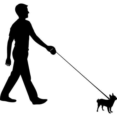 Man Walking a Chihuahua  Dog Silhouette Vector