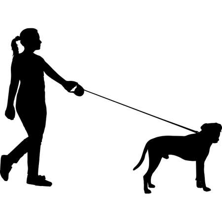 Woman Walking a Boxer  Dog Silhouette Vector