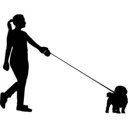 Woman Walking a Maltese  Dog Silhouette Vector