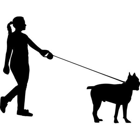 Woman Walking a Cane Corso Dog Silhouette Vector