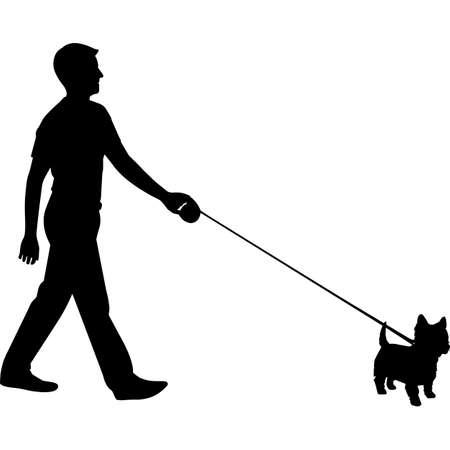 Man Walking a West Highland White Terrier Dog Silhouette Vector 矢量图像