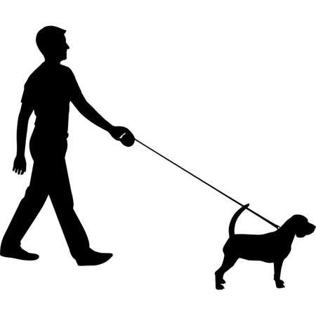 Man Walking a Beagle  Dog Silhouette Vector 矢量图像