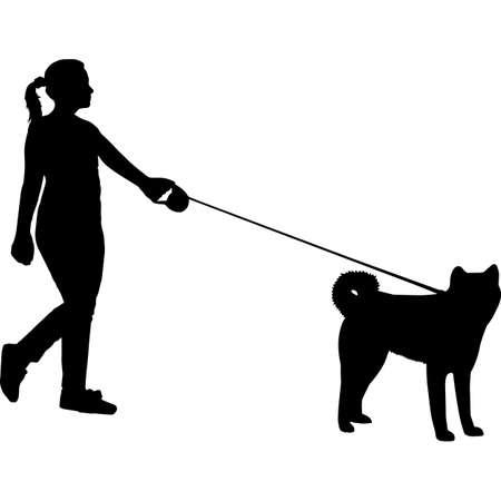 Woman Walking a Akita Dog Silhouette Vector