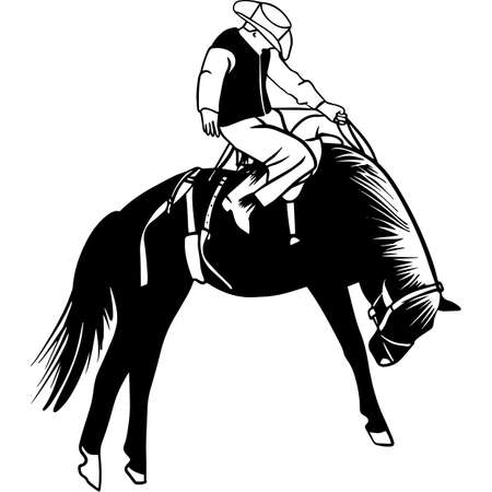 Hand drawn Rodeo Saddle Back Bronco Vector Sketch