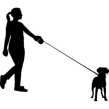 Woman Walking a Brittany Spaniel  Dog Silhouette Vector 矢量图像