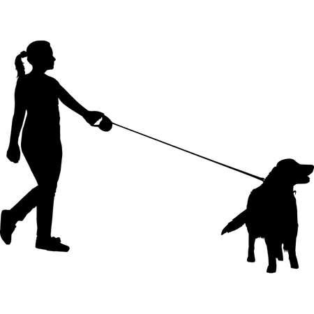 Woman Walking a Golden Retriever  Dog Silhouette Vector