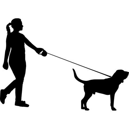 Woman Walking a Bloodhound Dog Silhouette Vector