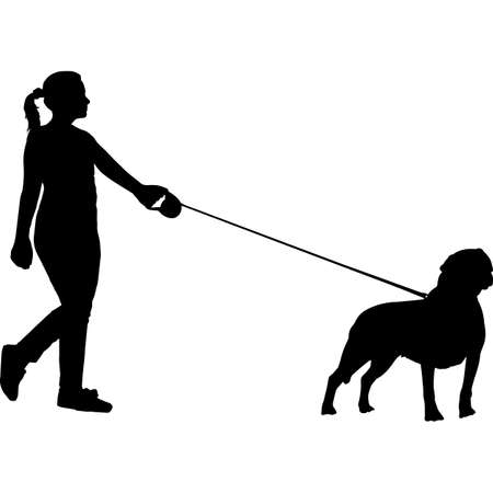 Woman Walking a Rottweiler  Dog Silhouette Vector