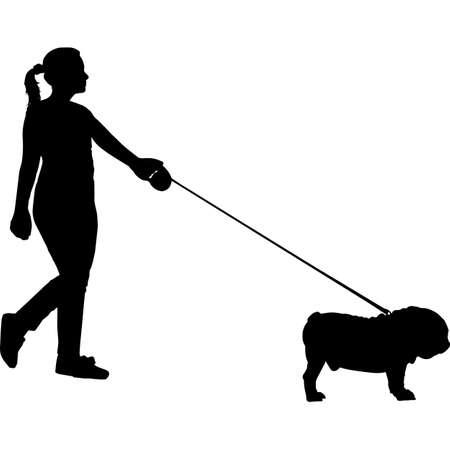 Woman Walking a Bull Dog Silhouette Vector