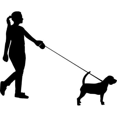 Woman Walking a Beagle  Dog Silhouette Vector