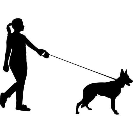 Woman Walking a German Shepherd  Dog Silhouette Vector 矢量图像