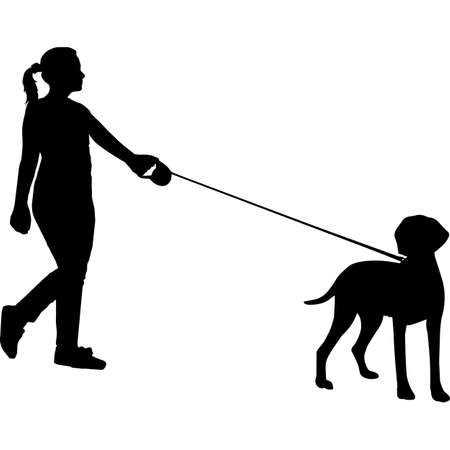 Woman Walking a Wirehaired Vizsla Dog Silhouette Vector