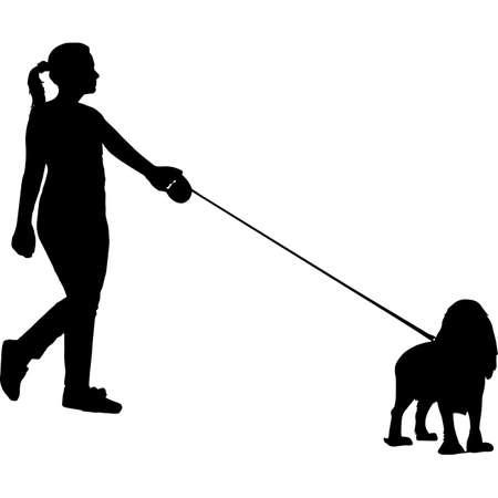 Woman Walking a English Cocker Spaniel Dog Silhouette Vector