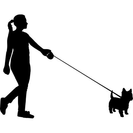 Woman Walking a West Highland White Terrier Dog Silhouette Vector