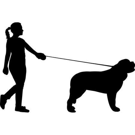 Woman Walking a Saint Bernard Dog Silhouette Vector