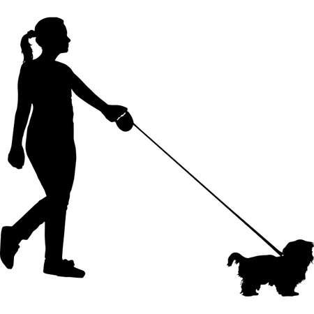 Woman Walking a Shih Tzu  Dog Silhouette Vector 矢量图像