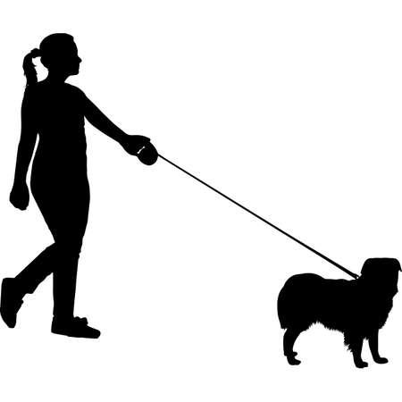 Woman Walking a Miniature American Shepherd Dog Silhouette Vector