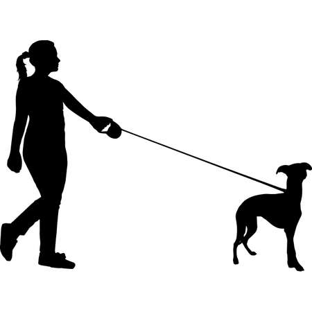 Woman Walking a Whippet Dog Silhouette Vector 矢量图像