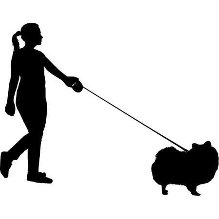 Woman Walking a Pomeranian Dog Silhouette Vector