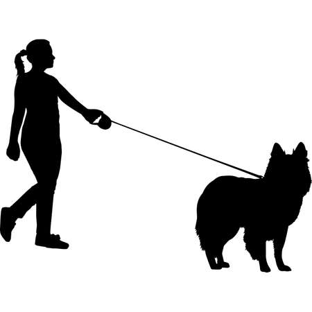 Woman Walking a Shetland Sheep  Dog Silhouette Vector 矢量图像