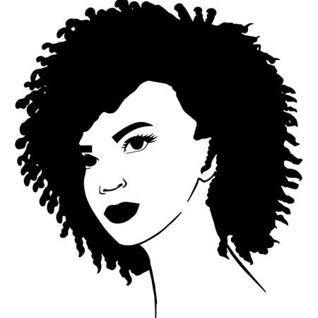 African American Woman Face with Hair - Natural Coily curls