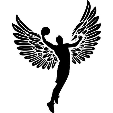 RIP Basketball Player, Memorial with Angel Wings Silhouette, Sympathy Silhouette, In Loving Memory of digital vector files Illustration