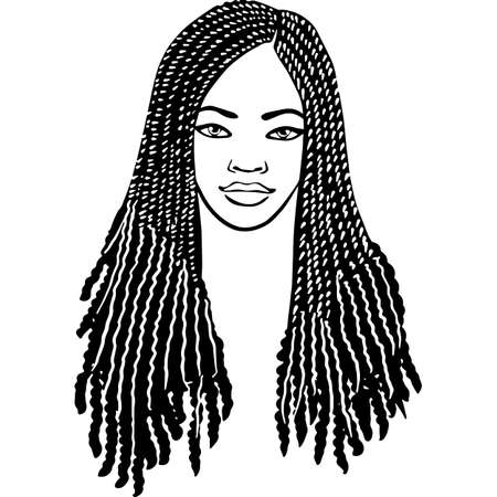 African American Woman Face with Hair - Braids with Curls