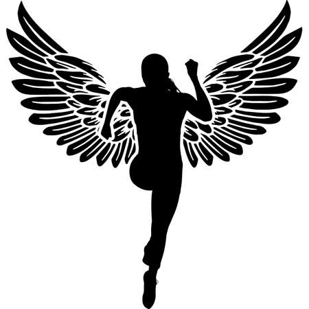 RIP Female Athlete, Memorial with Angel Wings Silhouette, Sympathy Silhouette, In Loving Memory of digital vector files Illustration