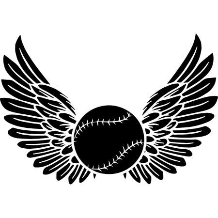 RIP Baseball Player, Memorial with Angel Wings Silhouette, Sympathy Silhouette, In Loving Memory of digital vector files