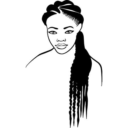 African American Woman Face with Hair - Natural Long Braids