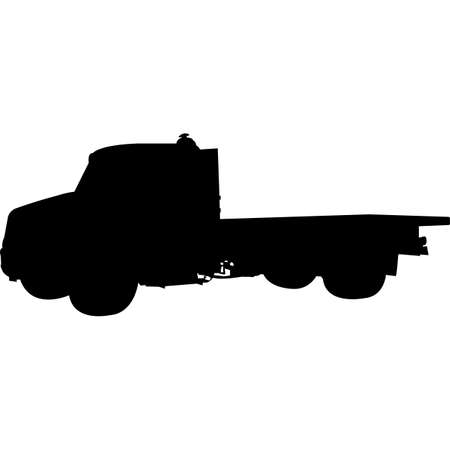 Flatbed Truck Medium Duty Silhouette Vector