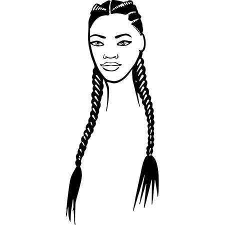 African American Woman Face with Hair - Long 2 Braids