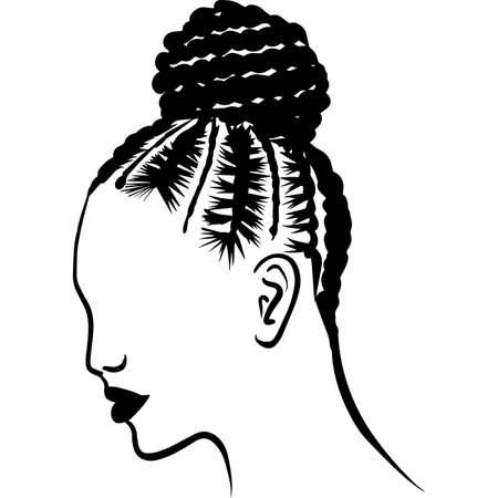 African American Woman Hair - Braided Bun