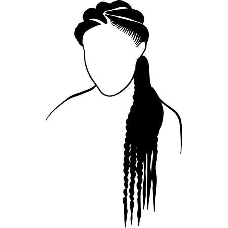 African American Woman Hair - Natural Long Braids Vektorgrafik