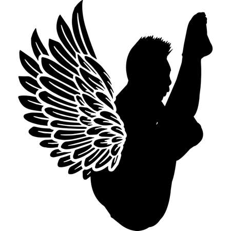 RIP Male Diver, Memorial with Angel Wings Silhouette, Sympathy Silhouette, In Loving Memory of digital vector files