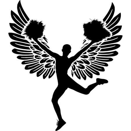 RIP Cheerleader, Memorial with Angel Wings Silhouette, Sympathy Silhouette, In Loving Memory of digital vector files