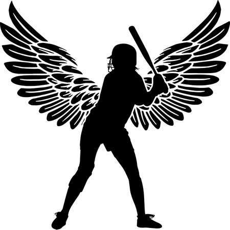 RIP Female Softball Player, Memorial with Angel Wings Silhouette, Sympathy Silhouette, In Loving Memory of digital vector files