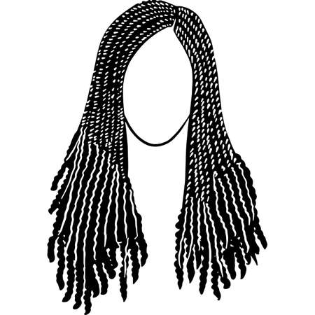 African American Woman Hair - Braids with Curls