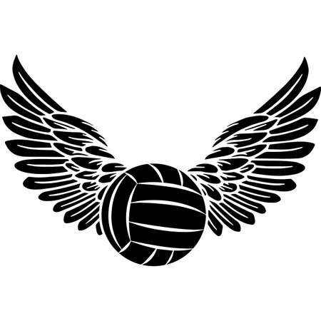 RIP Volleyball, Memorial with Angel Wings Silhouette, Sympathy Silhouette, In Loving Memory of digital vector files