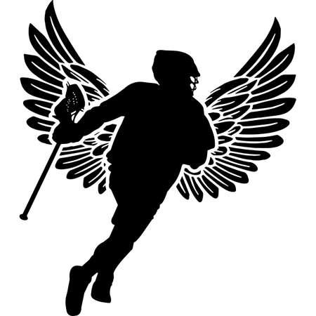 RIP Male Lacrosse Player, Memorial with Angel Wings Silhouette, Sympathy Silhouette, In Loving Memory of digital vector files