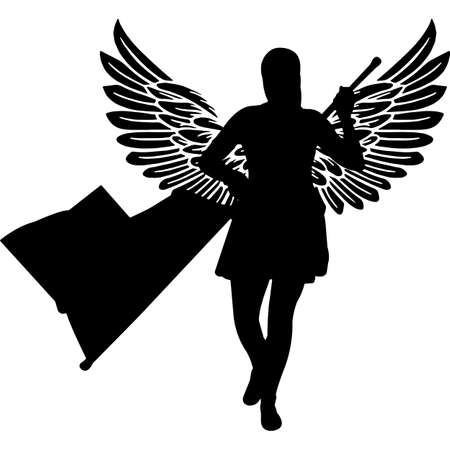 RIP Marching Band Performer, Memorial with Angel Wings Silhouette, Sympathy Silhouette, In Loving Memory of digital vector files Ilustrace
