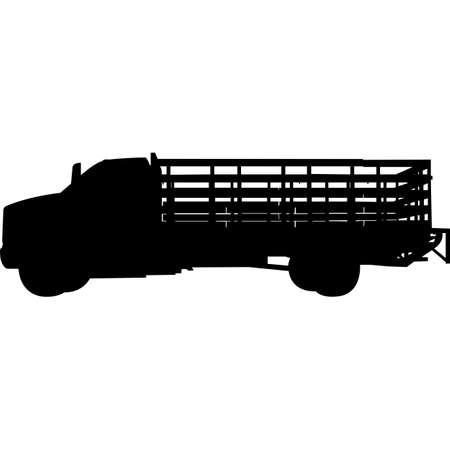 Stake Bed Trucks Silhouette Vector