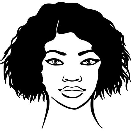 African American Woman Face with Hair - Short Wet Wavy Curly