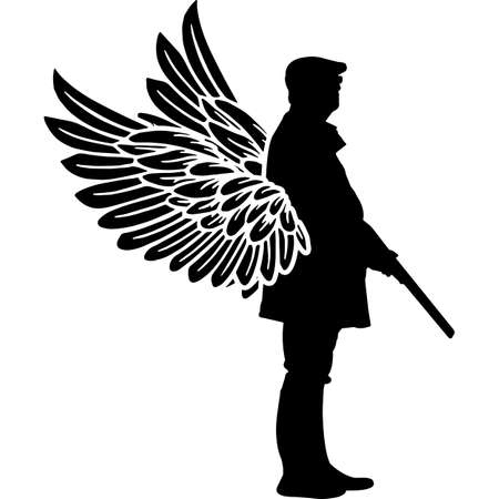 RIP Hunter, Memorial with Angel Wings Silhouette, Sympathy Silhouette, In Loving Memory of digital vector files